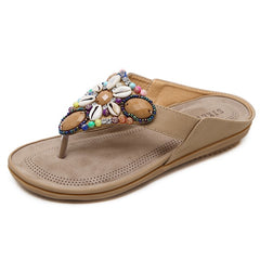 LAKESHI Summer Shoes Woman Beach Sandals Gemstone Floral Beaded Flip Flops Bohemia Ladies Shoes Causal Flat Sandals