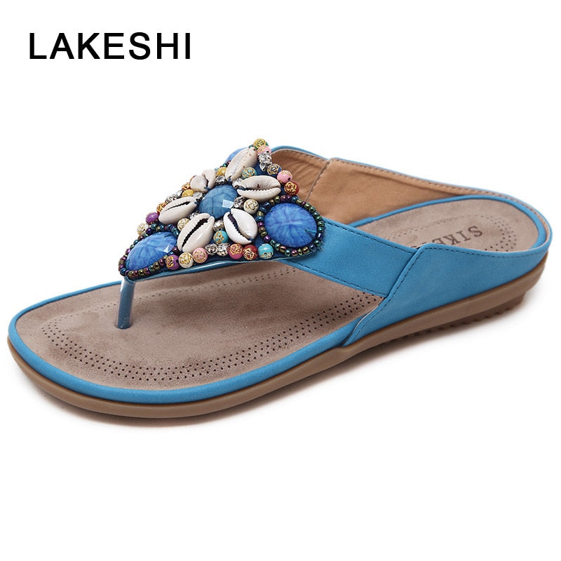 a399084a363f Hover to zoom · LAKESHI Summer Shoes Woman Beach Sandals Gemstone Floral  Beaded Flip Flops Bohemia Ladies Shoes Causal Flat
