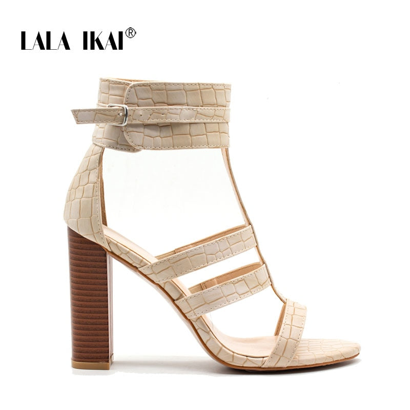 724a480c7 LALA IKAI Gladiator Heels High Sandals Women Summer Shoes Ankle Strap Peep  Toe Wedding Shoes Woman. Hover to zoom