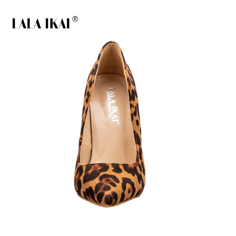 6f09b7096 ... LALA IKAI Leopard Casual Heels Women Pumps Shoes Office Lady Pointed  Toe Flock Sexy High Heels ...