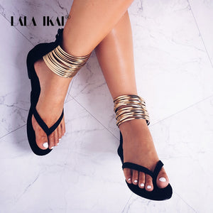 34cf1b20b LALA IKAI Summer Flat Sandals Gladiator Flip Flops Narrow Band Women s  Sandals 2018 New Summer Women ...