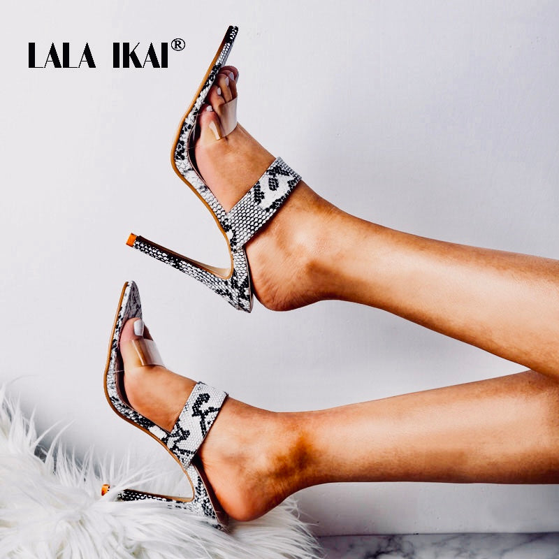 4802e088ba19 LALA IKAI Woman Snake Pattern Sandals Super High Thin Heels Ladies Summer  Slides Outdoor Fashion Party. Hover to zoom