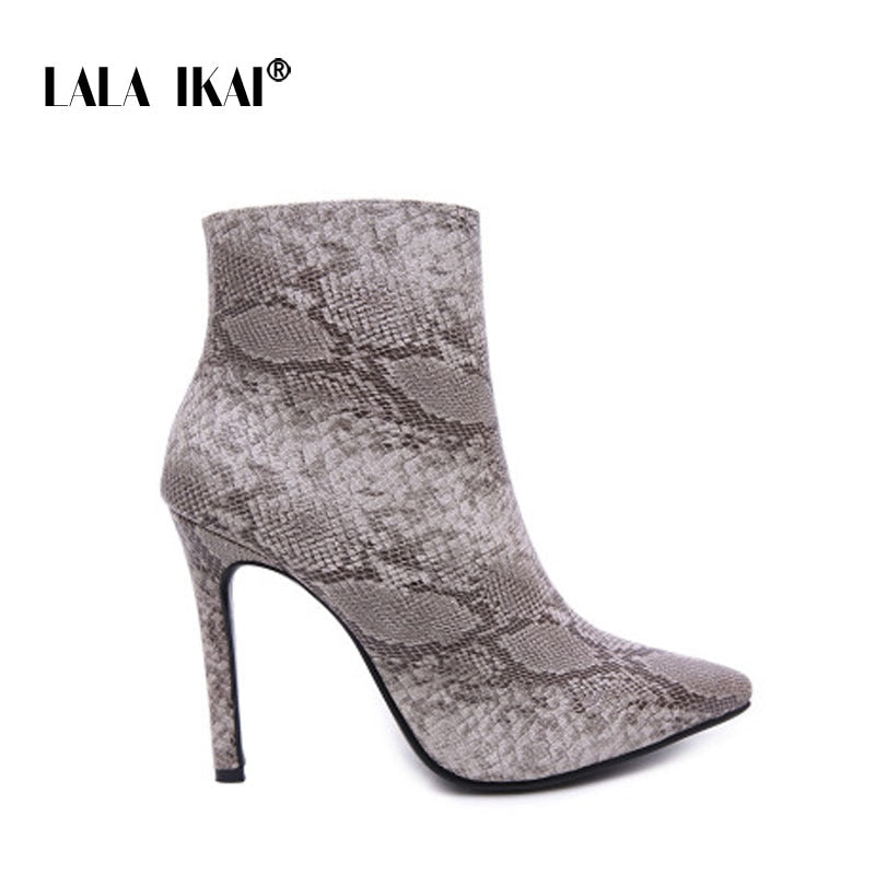 eb07bf1aba0b Hover to zoom · LALA IKAI Women High Heels Ankle Boots Zipper Snake ...