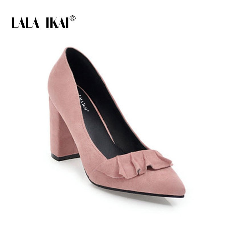 a2d1e5e6c1cd LALA IKAI Women Ruffles Pumps Suede Pointed Toe Square Heel Slip-On Sweet  Party Stilletto. Hover to zoom
