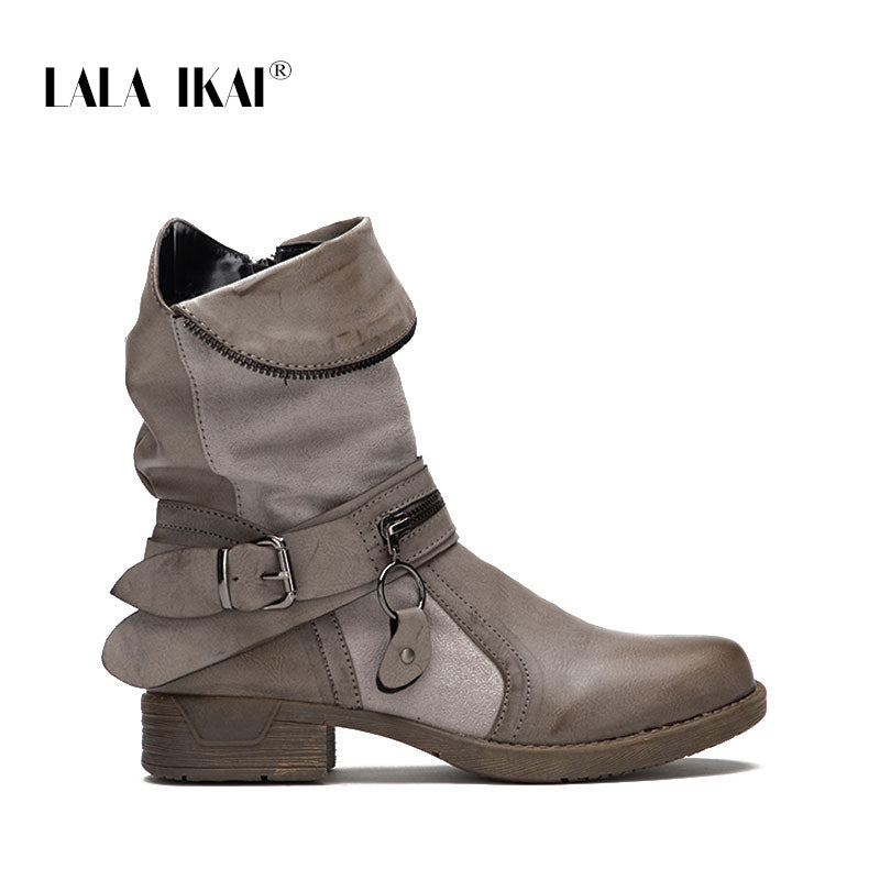1e614878a0bf LALA IKAI Zipper Leather Women Western Boots Solid Round Toe Velvet Ladies  Winter Flat Ankle Boots. Hover to zoom