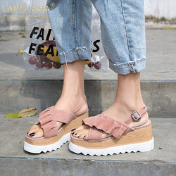 LAPOLAKA New Sweet Ruffles Sandals Women Summer Kid Suede Peep Toe Platform High Heels Sandals Women Shoes Woman