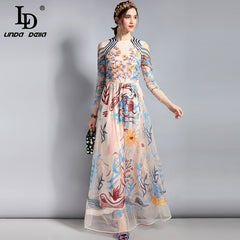 d3899adf22a LD LINDA DELLA Designer Maxi Dress Women s Long sleeve Lace Tulle Mesh  Floral Embroidery Long Dress ...