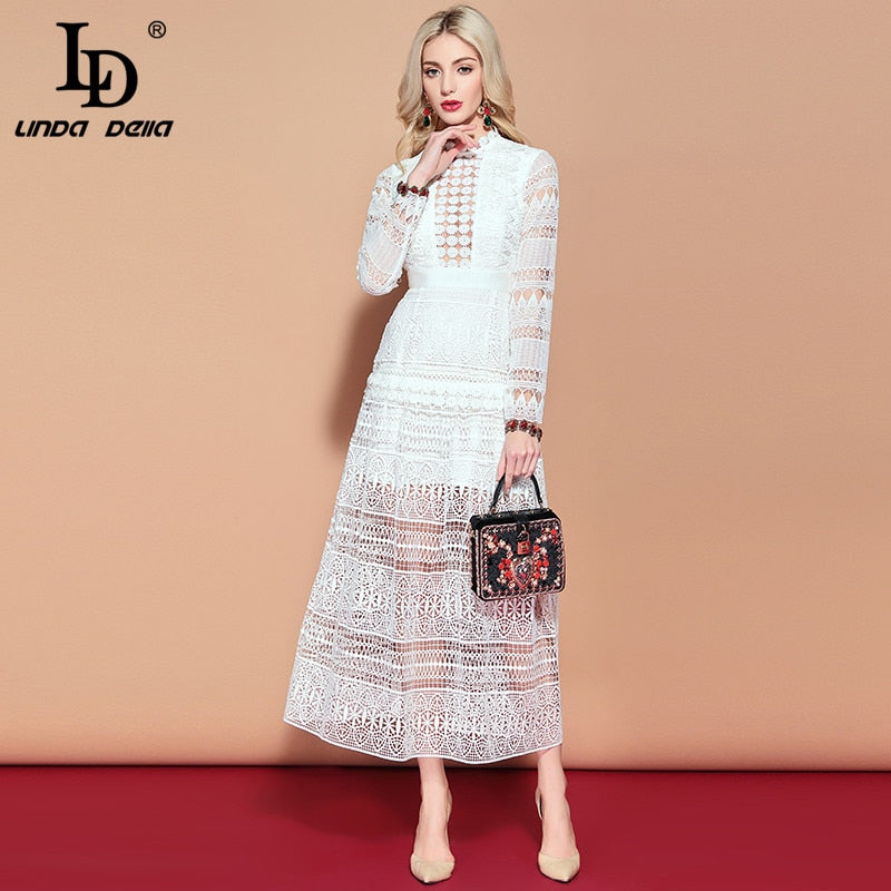 9f5b933bf6 LD LINDA DELLA Maxi Long Dress Women's Long Sleeve Lace Hollow out  Embroidery Dress Solid White Elegant Formal Party Dresses