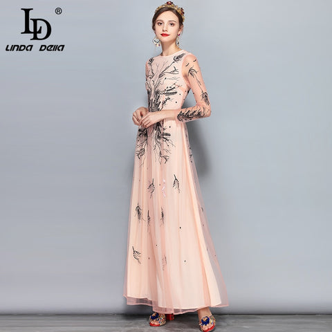 3f20096af74d28 ... Image of LD LINDA DELLA New 2018 Fashion Runway Maxi Dress Women's Long  Sleeve Floral Embroidery ...