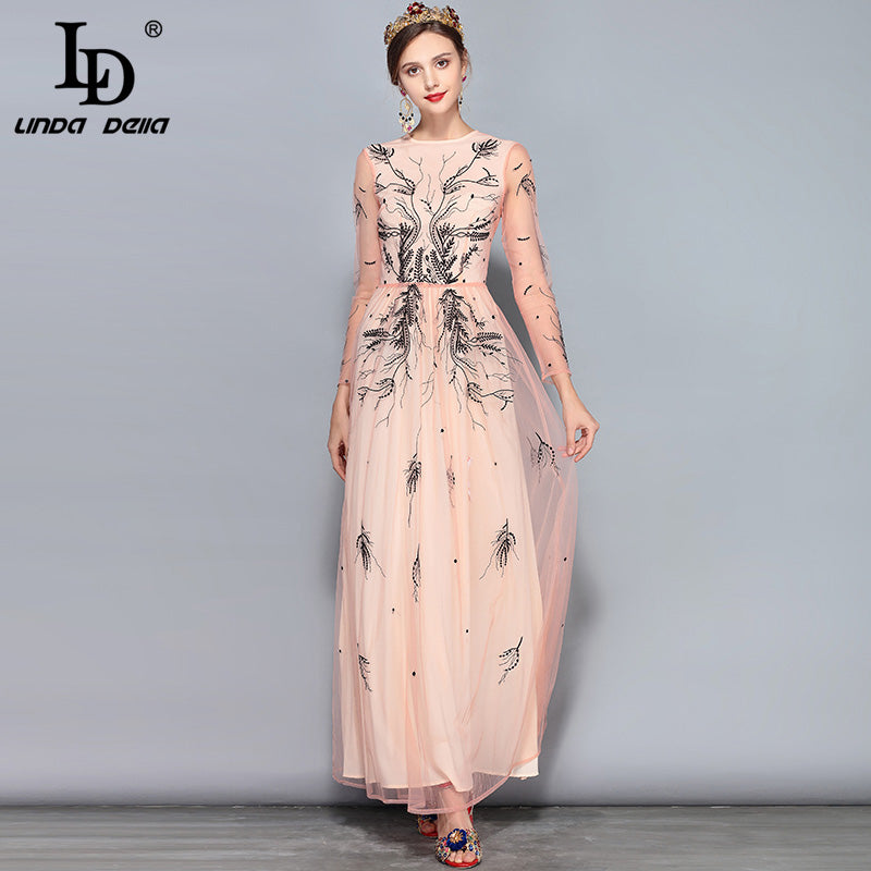 bc8159bc1cb251 LD LINDA DELLA New 2018 Fashion Runway Maxi Dress Women's Long Sleeve  Floral Embroidery Mesh Vintage. Hover to zoom