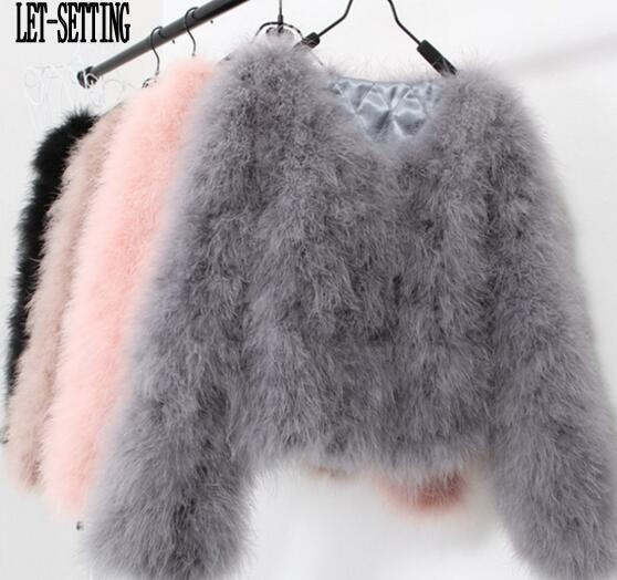 c0a7aa7f1b5a0 LET-SETTING 20 colors fashion sexy Ostrich wool turkey fur women coat  feather short plus ...