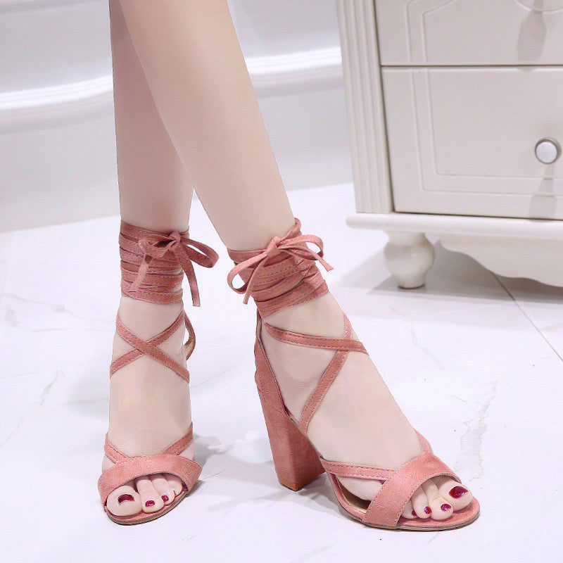 bbc0ba71531 LIN KING Rome Cross Tie Women Sandals Lace Up High Heel Gladiator Sandals  Thick Sole Open Toe Office Shoes Sandalias Femeninas
