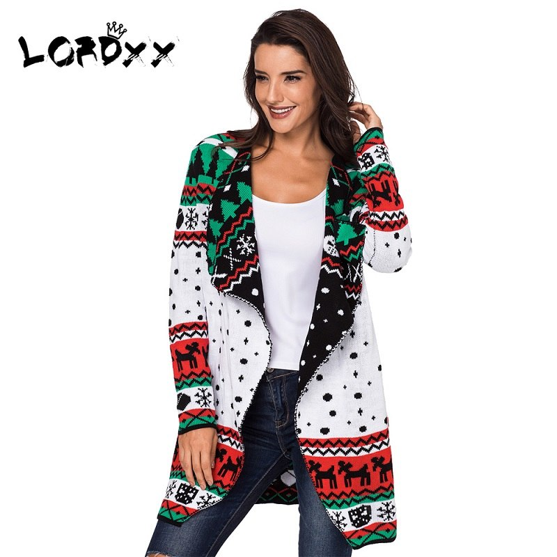 Christmas Cardigan Sweaters.Lordxx Cardigan Women Christmas Sweater Plus Size Long Sleeve Jumper Knitted Sweaters Overcoat Ladies Winter Fashion 2018