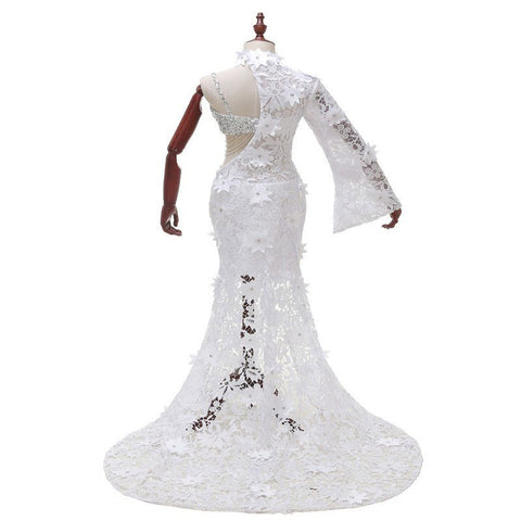 352db0acf0 LORIE Lace Evening Party Dress Mermaid 2018 Robe De Soiree White One  Shoulder Long Sleeve Prom Dresses Sexy Formal Evening Gowns