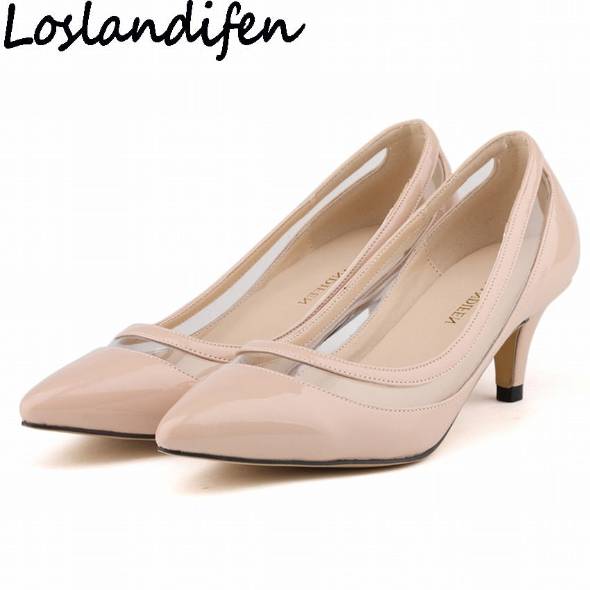 9cf8f2a028f LOSLANDIFEN Women Pumps Low Heels Patchwork Pointy Toe Shoes PVC Clear  Transparent Heels Shallow Mouth OL Occupation Sold Shoes
