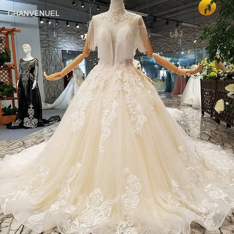 LS411077 fast free shipping wedding dress high neck short sleeves ...