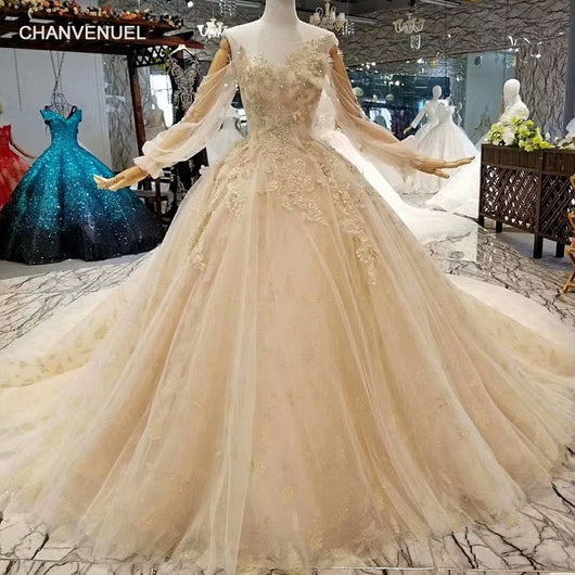Ls88664 Free Shipping Champagne Wedding Dress Long Puffy Sleeves