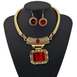 LUFANG 2018 Fashion Silver Color Bohemia Collier Big Statement Maxi Necklace Punk Ethnic Red Power Choker Necklace Women Jewelry