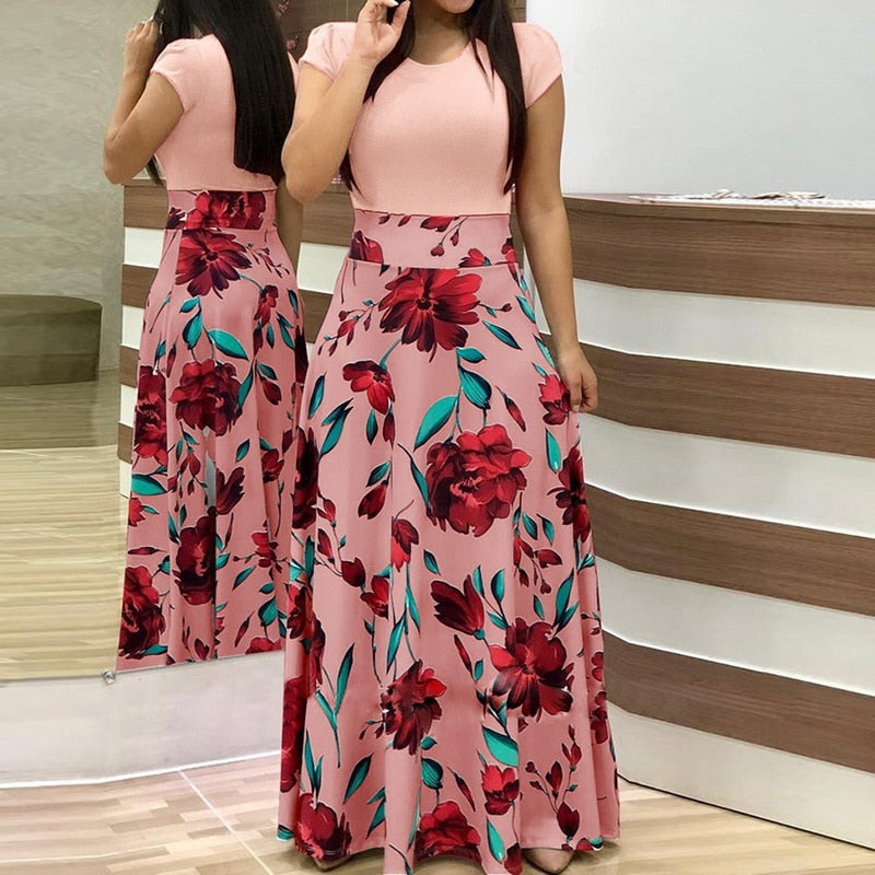 33720956d6947 Hover to zoom · Laamei 2019 Summer Long Dress Women Vintage Floral Pinted  Party Maxi Dresses Female Short Sleeve Boho