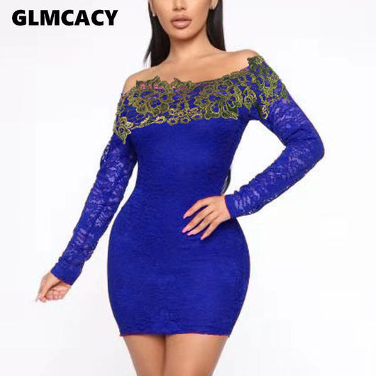 Lace Insert Bodycon Dress Women Off Shoulder Long Sleeve Spring Fall Mini Dresses Solid Slim  Club Dress