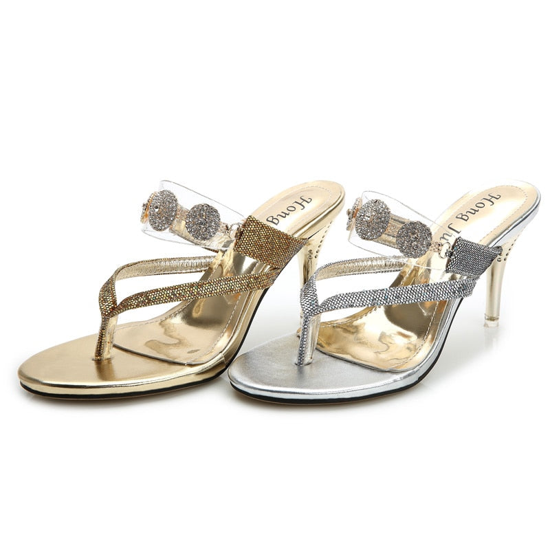 zapatos deportivos cc70c 88cff Ladies High Heels Flip flops Luxury Diamond Summer Slippers Zapatos Gold  Silver Shoes Plus Size 40 34 Clear Upper Fashion 2018