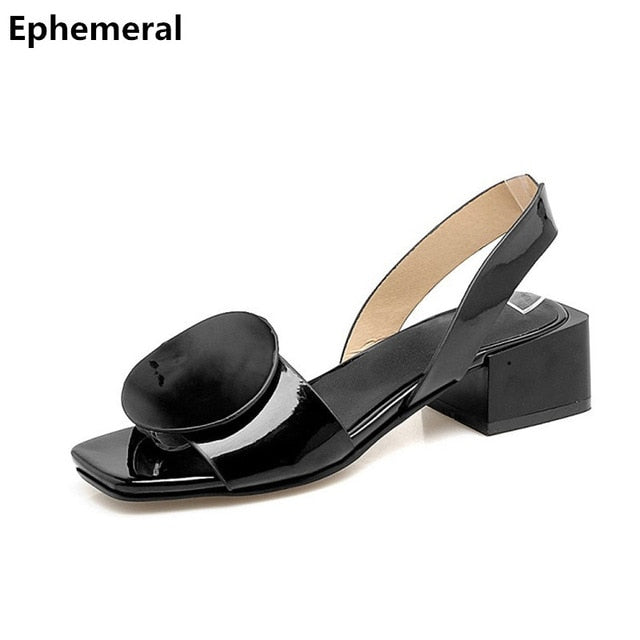 e76cbad2733 ... Ladies back strap medium heels sandals square heel shoes open toe black  sandals pu leather sandalias ...