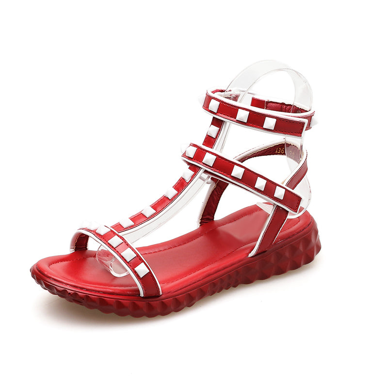 6747e43f7e75 Hover to zoom · Ladies flip flops fashion rivet wedge gladiator sandals  Comfortable summer flat shoes women wedges studded sandals