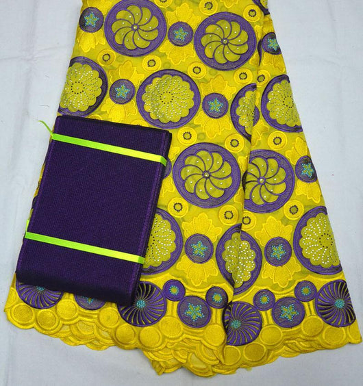 Latest African 100% swiss voile lace high quality wedding lace matching aso-oke headtie Yellow purple