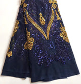 Latest African Fashion Design Royal blue+gold French Net Wedding Lace With Sequins For Women Wedding Dress