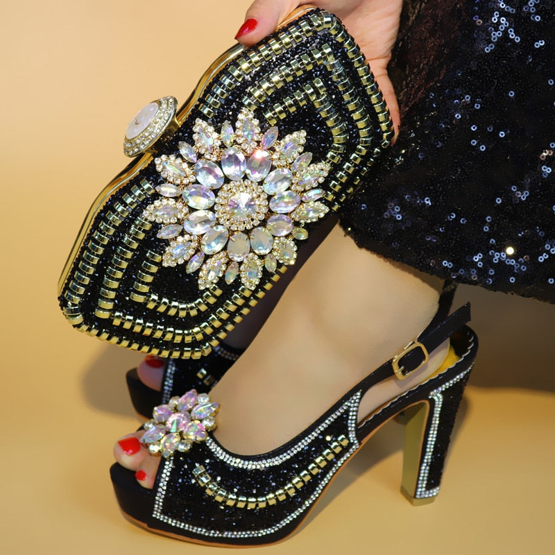 24ae2385dd Latest Beautiful African Shoes and Matching Bags High quality Italian Shoes  and Bags Black color Decorated with big Rhinestones