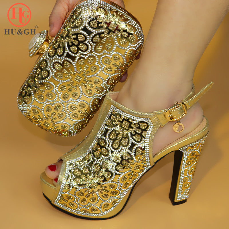 Latest Golden Color Italian Ladies Shoes and Bags To Match Set Nigerian  Shoes and Matching Bag ... 647577901edf