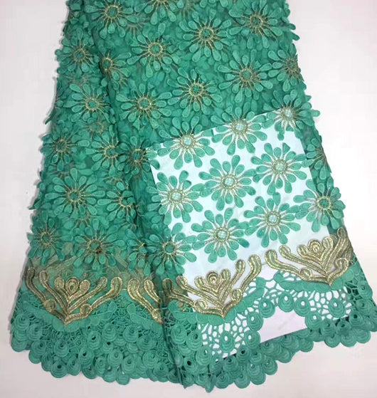 Latest Nigeria High Quality design Mint Green Flowers Tulle lace For Nigeria wedding  lace fabric 5 yards