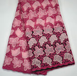 Latest african 100% high quality Fushia handcut double organze lace fabric with stones For African Wedding