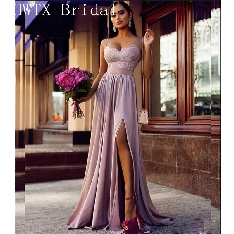 f69885467a77 Lavender Chiffon Bridesmaid Dresses 2019 Side Split Long Elegant A ...