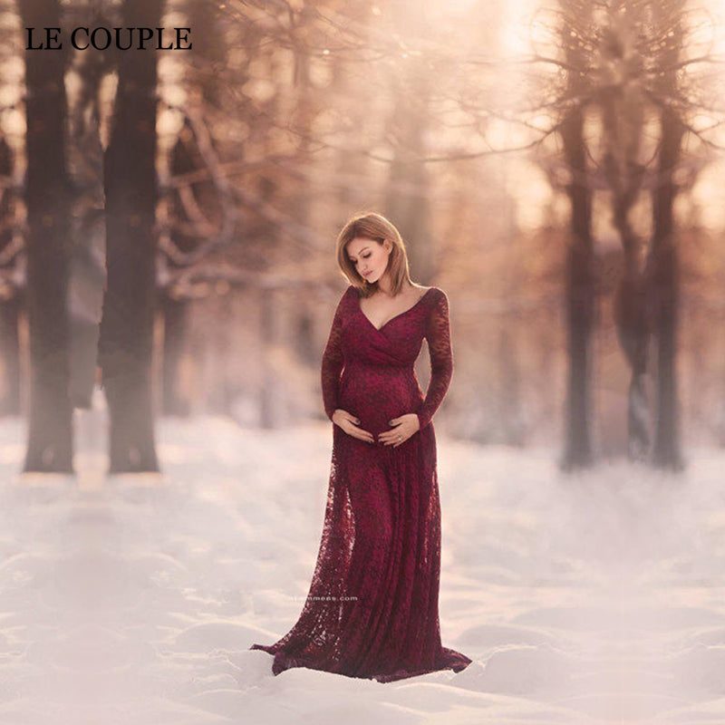 23531356b7b ... Lace Maternity Photography Props Long Sleeve Pregnancy Dress Floor  Length Maternity Clothes. Hover to zoom