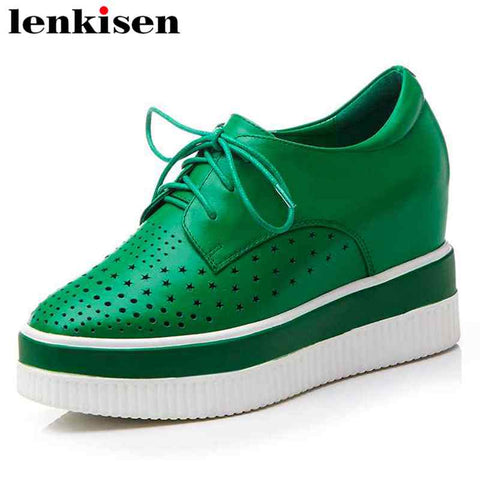 Lenkisen Korean girl round toe hollow lace up concise shoes super high wedge bottom internal increased women leather pumps L2f9