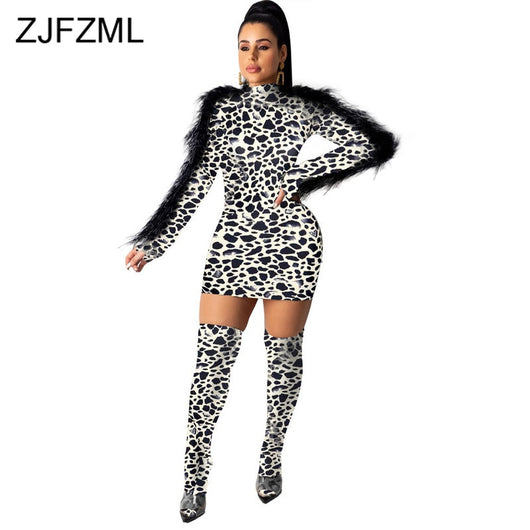 Leopard Print Vintage Club Party Dress Women Black Feather Spliced Full Sleeve Mini Dress Fall Winter Stand Collar Bandage Dress