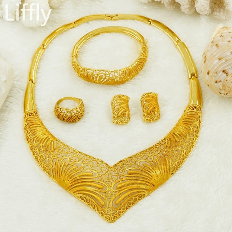 Liffly Bridal Gift Dubai Gold Jewelry Sets for Women Charm Necklace Earrings Fashion Nigerian Wedding African Beads Jewelry Set
