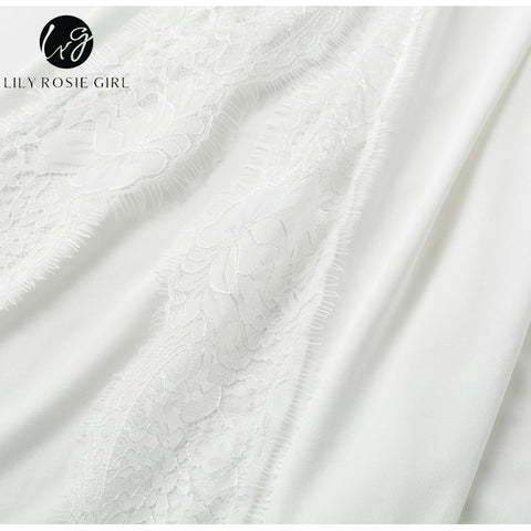 196f21a3955 ... Image of Lily Rosie Girl Bohemian Beach White Women Dress Off Shoulder  Lace Casual Dress Hollow ...