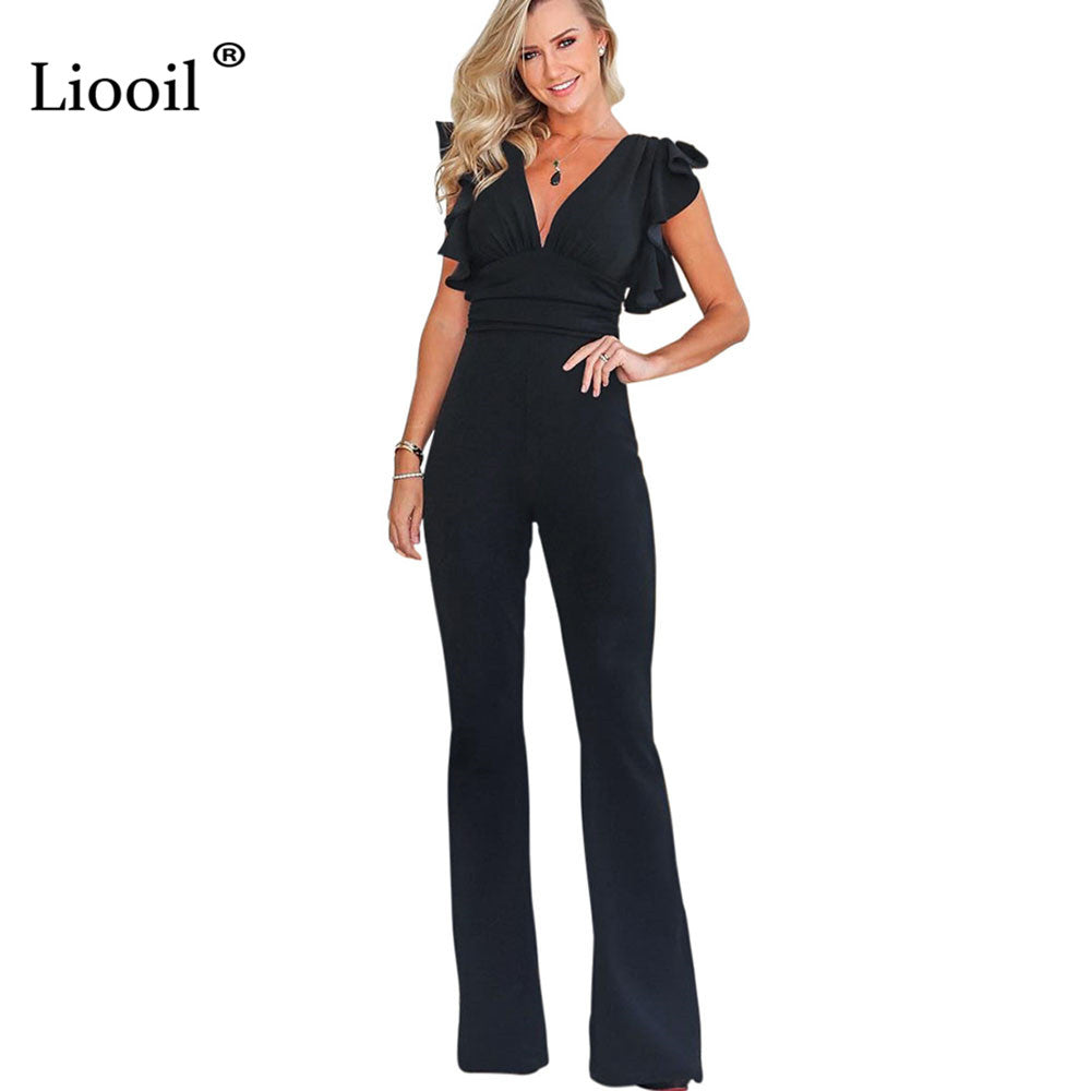 e483b8b8e25 ... Black Ruffle Rompers Womens Jumpsuit Long Pants Summer Fashion Sexy Club  V Neck Zipper Party Jumpsuits ...
