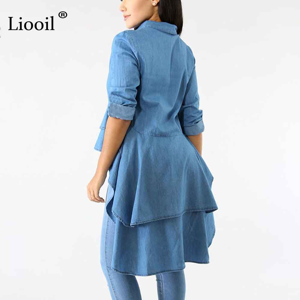 0a9f41bb50 Liooil Plus Size Denim Blue T Shirts Women Top Sexy Club Long Sleeve Button  Notched Tshirt Swallowtail Summer Crop Tops Womens