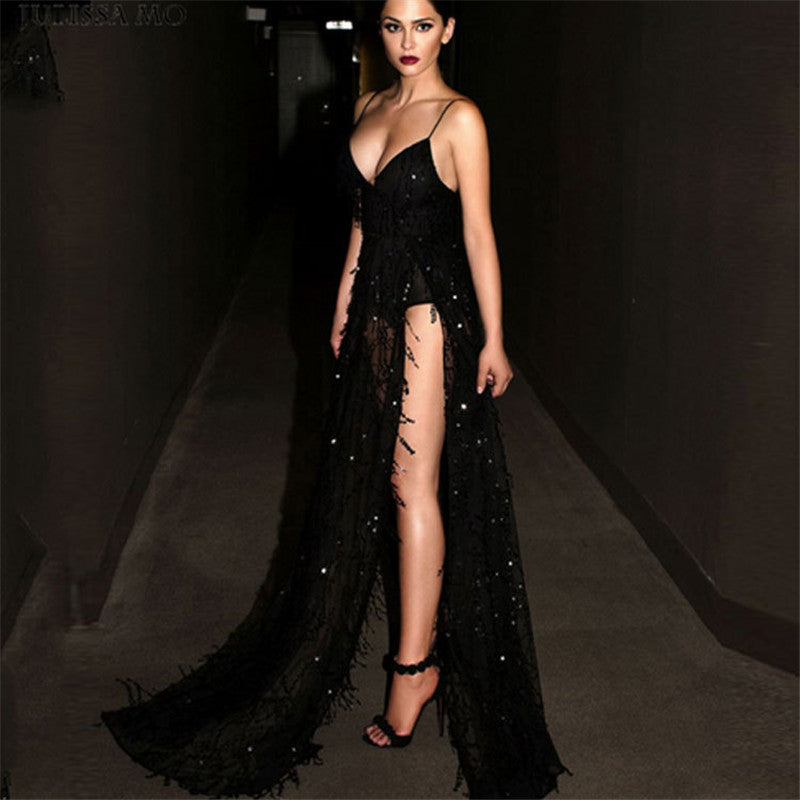 ... Long Black Sequin Dress Women Sexy Spaghetti Strap Tassels Deep V Neck  Thigh High Split Maxi ... a3a3efde019f