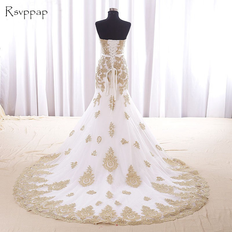 56b095993a96b Long Evening Dress 2018 Mermaid Style Sweetheart Gold Lace Arabic African  White Women Formal Evening Gowns robe de soiree