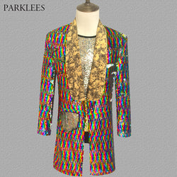 Long Laser Sequins Blazer Jacket Men Glitter Magician Sequin Mens Dress Costume Stage Party Singer Wedding Groom Suit Jacket 3XL