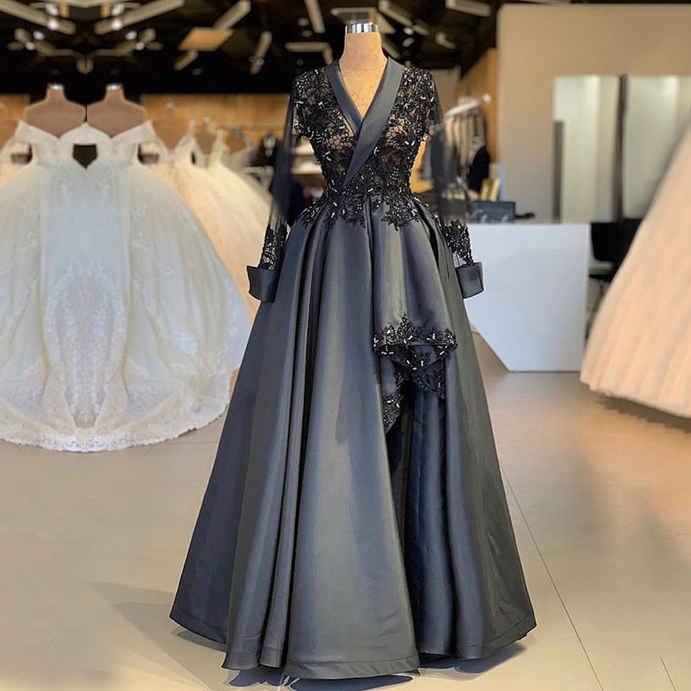 f52123cca520d Long Sleeve Arabic Style Women Evening Dress 2018 A-line Sheer Top Beaded  Lace Women. Hover to zoom