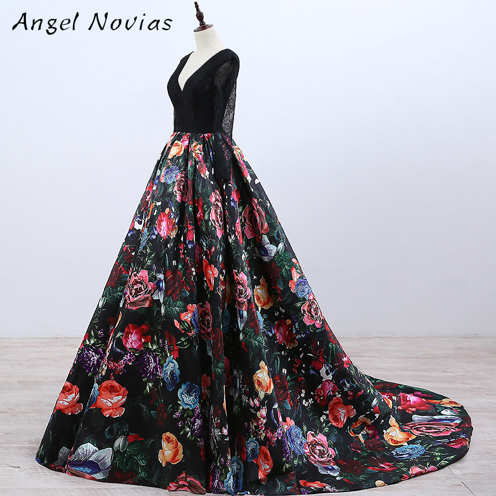 Long Sleeve Ball Gown Floral Print Celebrity Dresses 2018 Corset ...