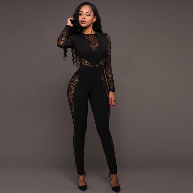 f7523727ab5f ... Long Sleeve Black Lace Jumpsuit Women Sexy See Through Mesh Bodycon  Long Pants Romper Club Wear ...