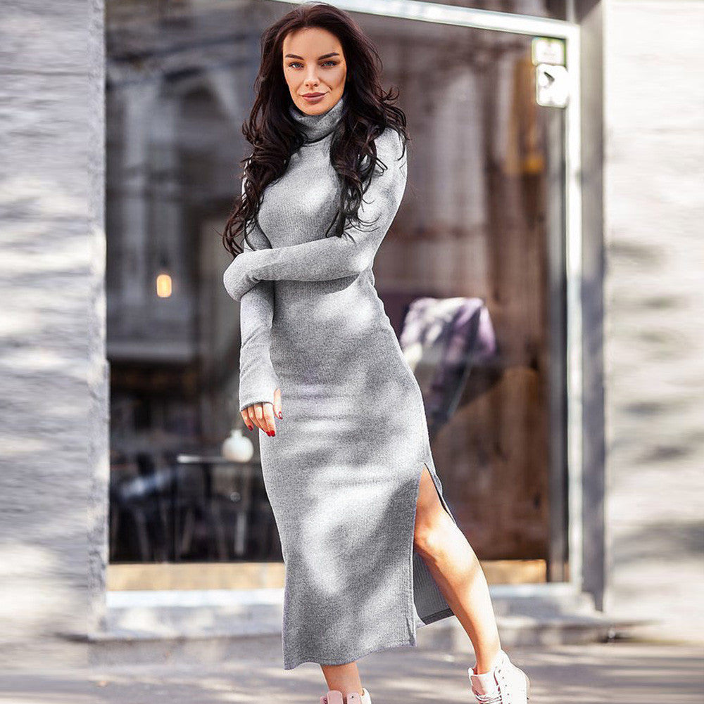 74e6a0a25e Hover to zoom · Long Sleeve Bodycon Dress Turthleneck Women Business Casual  Clothing Black Marled Knitted Cowl ...