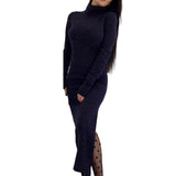 Long Sleeve Bodycon Dress Turthleneck Women Business Casual Clothing Black Marled Knitted Cowl Neck Ribbed Pencil Dress EY11
