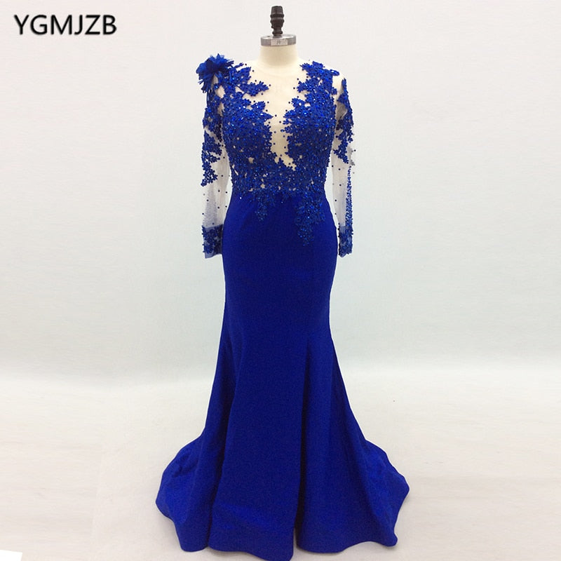 5e51ff7ef3976 Long Sleeve Evening Dresses 2018 Mermaid Beaded Crystal Lace Royal Blue  Women Formal Prom Evening Gown Prom Dress Robe De Soiree
